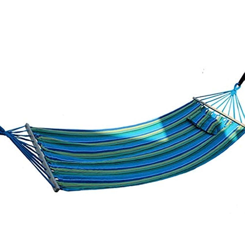 固執勤勉バイオレットWXL 屋外の屋内掛かるシートは枕が付いている木の棒が付いている厚いキャンバスのハンモックの布袋が付いている振動を振ります (色 : 青)