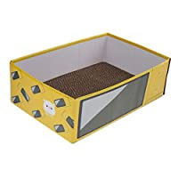 PETSOLA スクラッチボード ペット 猫 スクラッチャー 段ボール紙箱 休憩用 パッド - 黄
