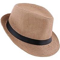 D DOLITY Summer Floppy Straw Hat Panama Hat Sun Foldable Cap Beach Hat - 57-58cm
