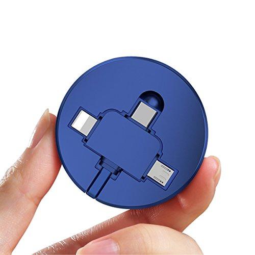 巻き取り ケーブル ライトニング MicroUSB Typec 3in1 充電 データ転送 ケーブル 1m (3in1, ブルー)