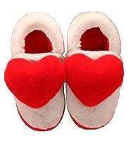 [チューカー] スリッパ パパママ ルームシューズ 子ども用 ボア ふかふか 暖かい 上履き 室内用 かわいい ハート 親子 おそろい 秋冬 レッド 14-15