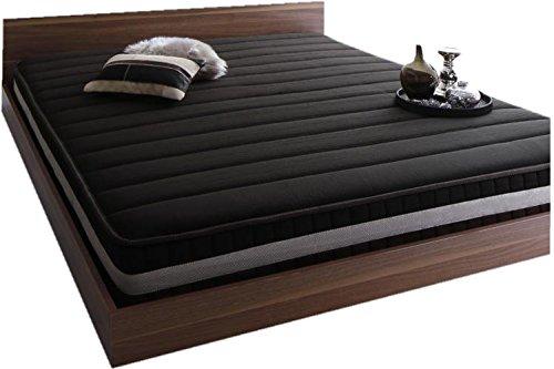 キング サイズ 大型ベッド ブラウン 中央に境目のないポケットコイル スプリング マットレス(ブラック) 付