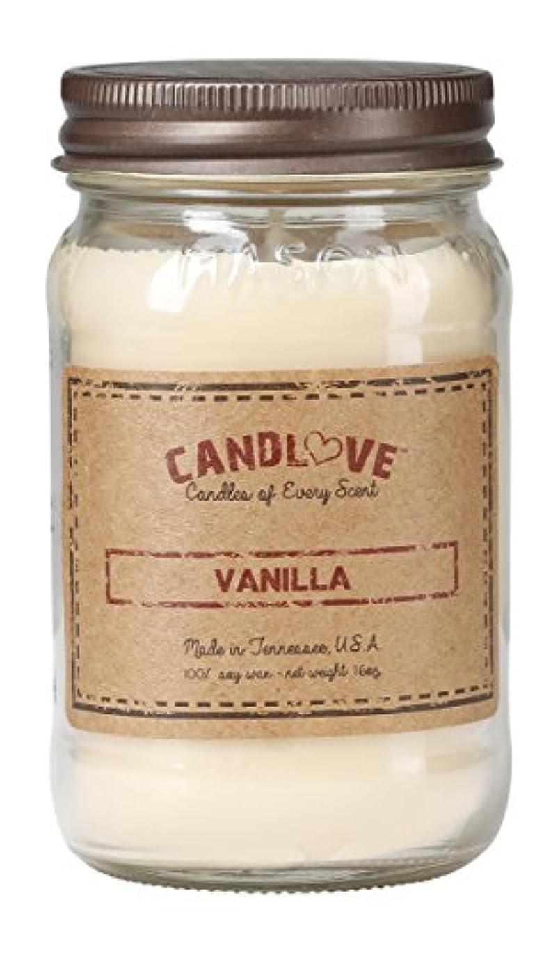 Candlove「バニラ」香りつき16oz Mason Jar Candle 100 %大豆Made in the USA ( 16oz )