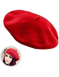ベレー帽 赤 レディース  ウール フリーサイズ 冬秋 男女兼用 フェルト 無地  小顔効果