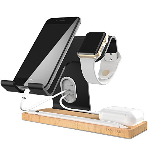 iphone スタンド スマホ スタンド LAMEEKU® Phone スタンド apple watch スタンド ホルダー iWatch スタンド タブレット スタンド アルミニウム合金&木製 Android&iphone 携帯電話 iPhone X 10 8 plus 7 plus 6 6s plus 5 5s se,ipad Nexus 7 REGZA Xperia Galaxy LG SONY Kindle Nintendo Switch対応(ブラック)
