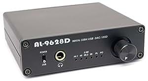 Amulech ハイレゾ音源対応 PCM 96KHz/32Bit // DSD 2.82MHz(88.2KHz/32Bit)  USB-DAC + ヘッドホンアンプ 、USB-DDC , 同軸(COAXIAL)出力, USBバスパワー または ACアダプター動作可能,  AL-9628D