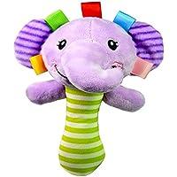 FONGFONG ソフトプラッシュ ハンドラトル おもちゃ 可愛い象 ライオン キリン カエル カートゥーン ぬいぐるみ 動物 スクイカー スティッカー プラム ベビーベッド アクティビティ ソフトトイ 幼児 赤ちゃん 子供用 Elephant
