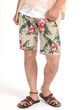 (スペイド) SPADE ショートパンツ メンズ 花柄 柄 プリント リゾート ショーツ 【w383】 (XL, キナリ)