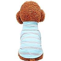 JPAKIOS 犬服猫ハイカラーストライプコットンTシャツペット服 (Color : ダークブルー, サイズ : XS)