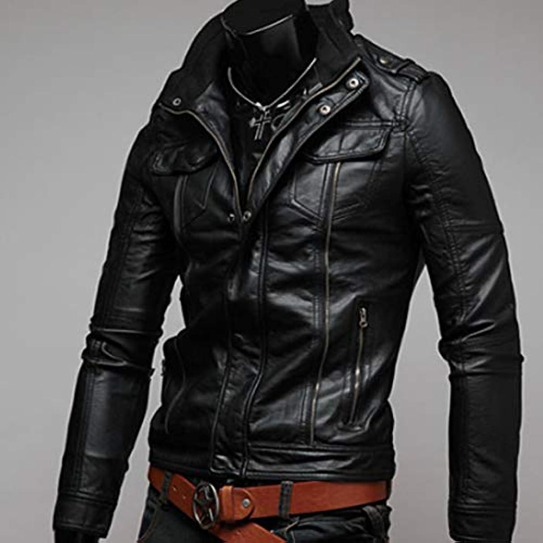 区画スチール約設定ファッションクールオートバイレザージャケットコートトレンディなデザイン男性コートユニセックス生き抜く快適な男性服-ブラックL
