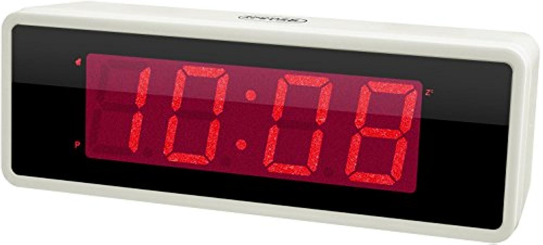 誠時(セイジ) 目覚まし時計 電池式常時点灯LEDクロック シスコM ホワイト LED-111WH