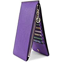 YALUXE Women's RFID Blocking Genuine Leather Multi Card Organizer Wallet with Zipper Pocket