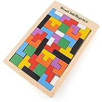 【★送料無料★】木製 テトリス タングラム パズル 教育玩具 積み木 自然 練習 思考 右脳 左脳 頭脳 考える カラフル 立体パズル トレーニング