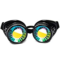 GloFX Padded Kaleidoscope Goggles - Wormhole Lens - Adjustable Strap - EDM Rave 3d Prism Rainbow Cyber Welding Steampunk Cyborg Portal Real Glass