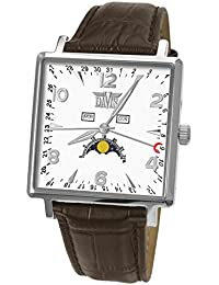 Davis-1731 トリプル日付とムーンフェイズメンズスクエア腕時計 Mens Square triple date and Moonphase watch-White dial-Brown leather strap