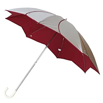 (トライバル)TRIBAL フラワーパイピング折りたたみ日傘 UVカット 晴雨兼用 シルバー/ワイン