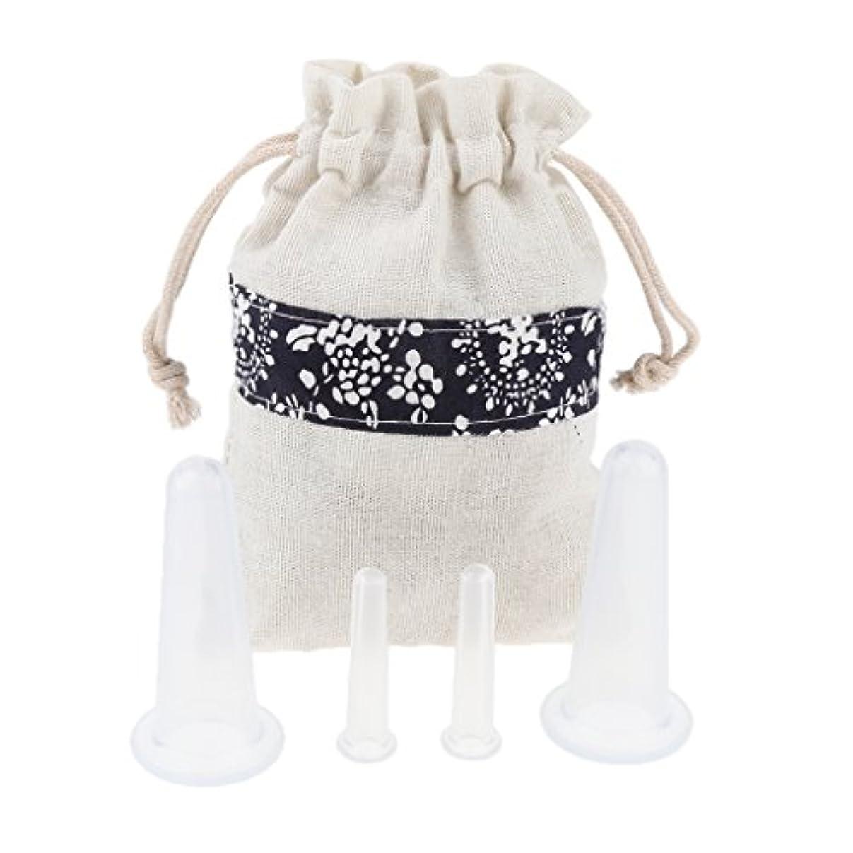 安価なパリティゆりかごFenteer 4個 マッサージカップ カッピング ボディー マッサージ カップ 収納ポーチ 収納袋