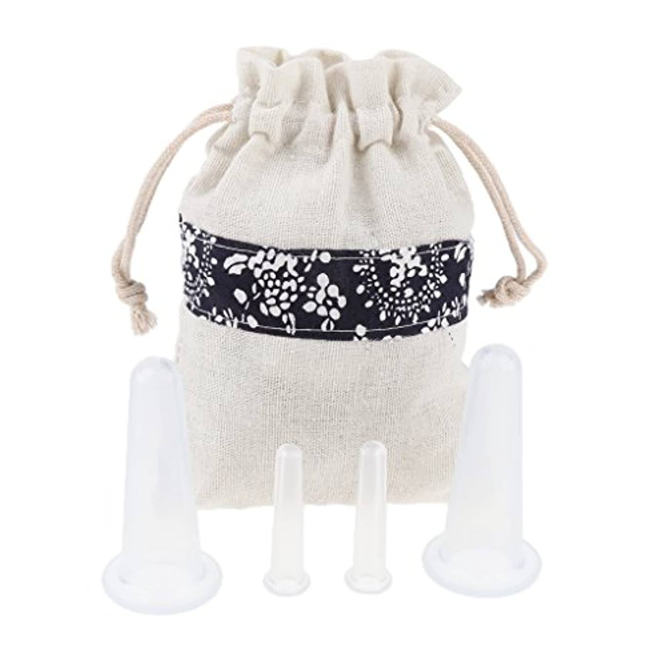 素晴らしい良い多くの寝る気づくFenteer 4個 マッサージカップ カッピング ボディー マッサージ カップ 収納ポーチ 収納袋