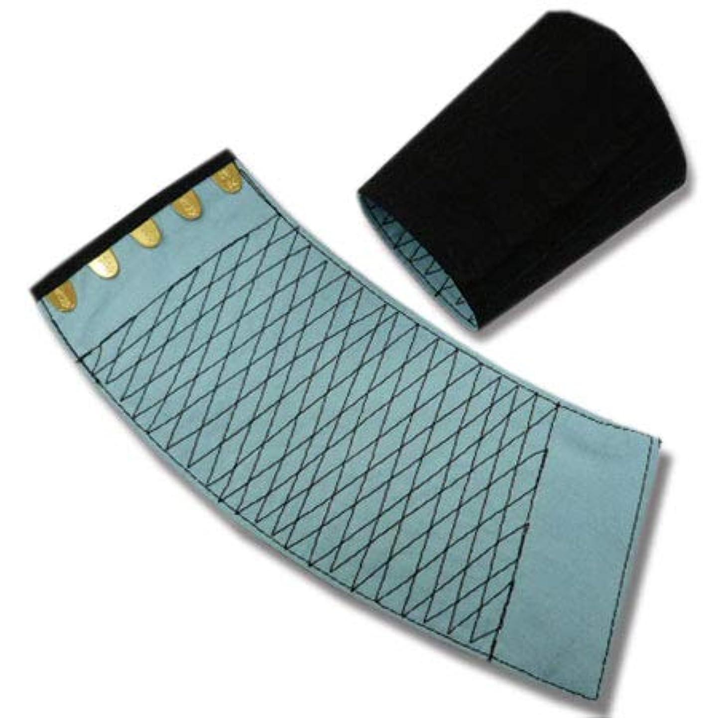 ペスト情緒的不規則な[きねや] 手甲 5枚コハゼ 「きねや無敵」 青縞手甲(藍染)腕貫 幅約10.7cm 5双セット