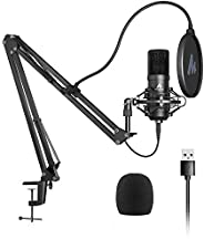 Maono USB Microphone Condenser, Microphone, PC Microphone Set, Microphone Stand with High Sound Quality, Arm S