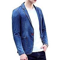 Howme-Men One Button Trim-Fit Notched Collar Denim Blazer Suit Jacket