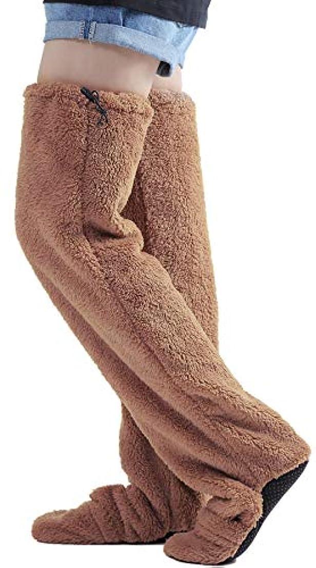 進むランデブーモザイクnicoly ヒートソックス 歩ける ロングカバー 極暖 ルームソックス 男女兼用 大きいサイズ (L)