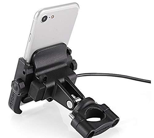 MASTORE 多機能 バイクスマホホルダー アルミ製 USB充電器付き 2.1A急速充電 スマートフォンホルダー 角度調整 360度回転 脱着簡単 防水 に適用iphone7 8 X xperia android 多機種対応