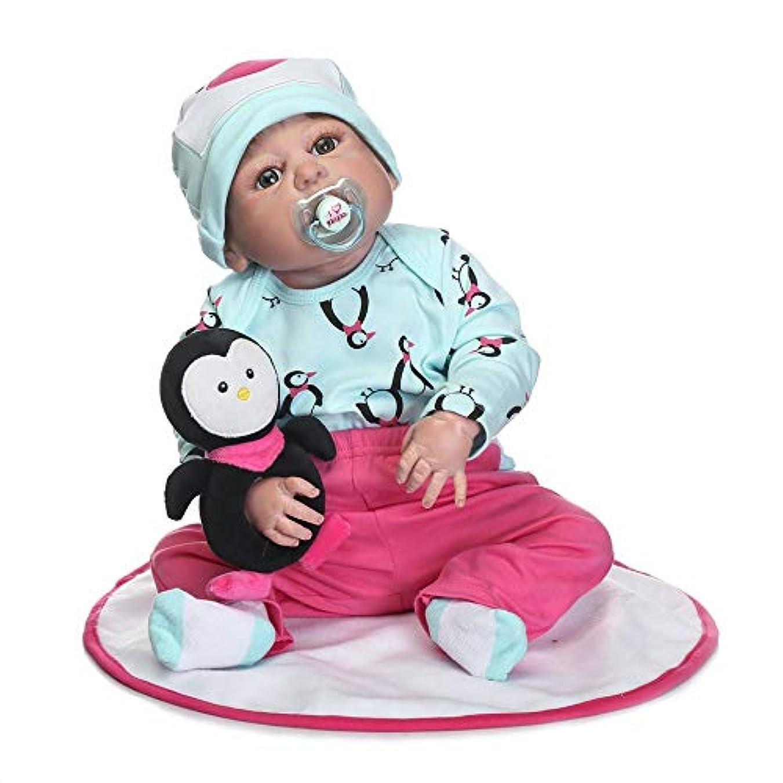 虫襟窓を洗う22インチ子供生まれ変わった赤ちゃん人形フルボディシリコンリアルな新生児人形でペンギンタッチソフト最高の誕生日プレゼント - ライトグリーン&ピンク - 1サイズ