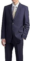 (スタイリッシュスーツ)STYLISH SUIT スリムスーツ メンズ ビジネス 2つボタン スリムモデル パンツウォッシャブル 防シワ ネイビー/ストライプ A7(標準・LLサイズ) [着用目安:身長175-180cm/ウエスト84cm前後]