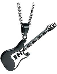 [ティンティンローズ]TingTing Rose メンズアクセサリー ステンレス ギター ペンダント ネックレス チェーン ブラック