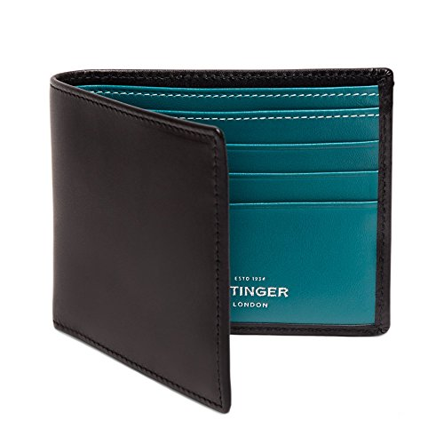 ETTINGER / エッティンガー レザー・ビルフォールド ウォレット 二つ折り財布 - ブラック/ターコイズ(内側)