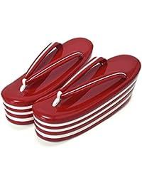 [ 京都きもの町 ] 七枚芯 草履単品 赤×白 フリー Lサイズ 成人式 結婚式の振袖に 振袖草履 卒業式の袴に