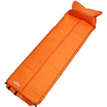 DABADA(ダバダ) キャンピングマット エアピロー付 エアマット キャンプ マット エアーマット キャンプマット 自動膨張式 インフレータブル 軽量 コンパクト (Bオレンジ)