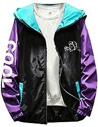 maweisong メンズカジュアルコントラストカラーファッションルーズフィットアウトウェアフードジャケット