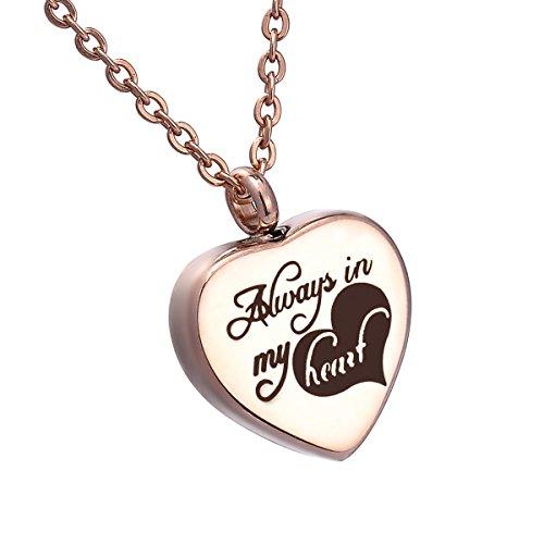 """[해외]HooAMI 수중 공양 기념 펜던트 스테인레스 유골 펜던트 목걸이 방수 중공 """"Always in my heart""""각인 하트 디자인 로즈 골드 도금 25mmx20mm-1 개/HooAMI hand memorial memorial pendant stainless remains ribbed pendant necklace water..."""