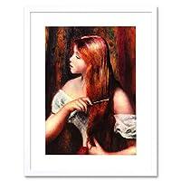 Painting Renoir Combing Girl Old Master Framed Wall Art Print