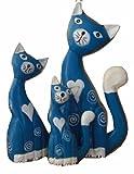 おしゃれ かわいい ハート模様 ブルー猫(3体セット) オブジェ 動物インテリア
