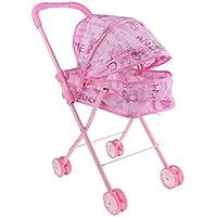 Prettyia 高品質 ポータブル プッシュチェア ベビープッシュカート ピンク お世話パーツ 子ども ごっこ遊びおもちゃ