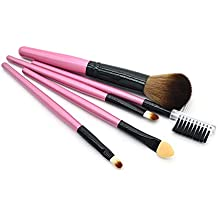 Makeup Brush Set 5Pcs Best Cream Blush Powder Flat Nose Cheek Round Small Angled Foundation Makeup Brushes-Pink