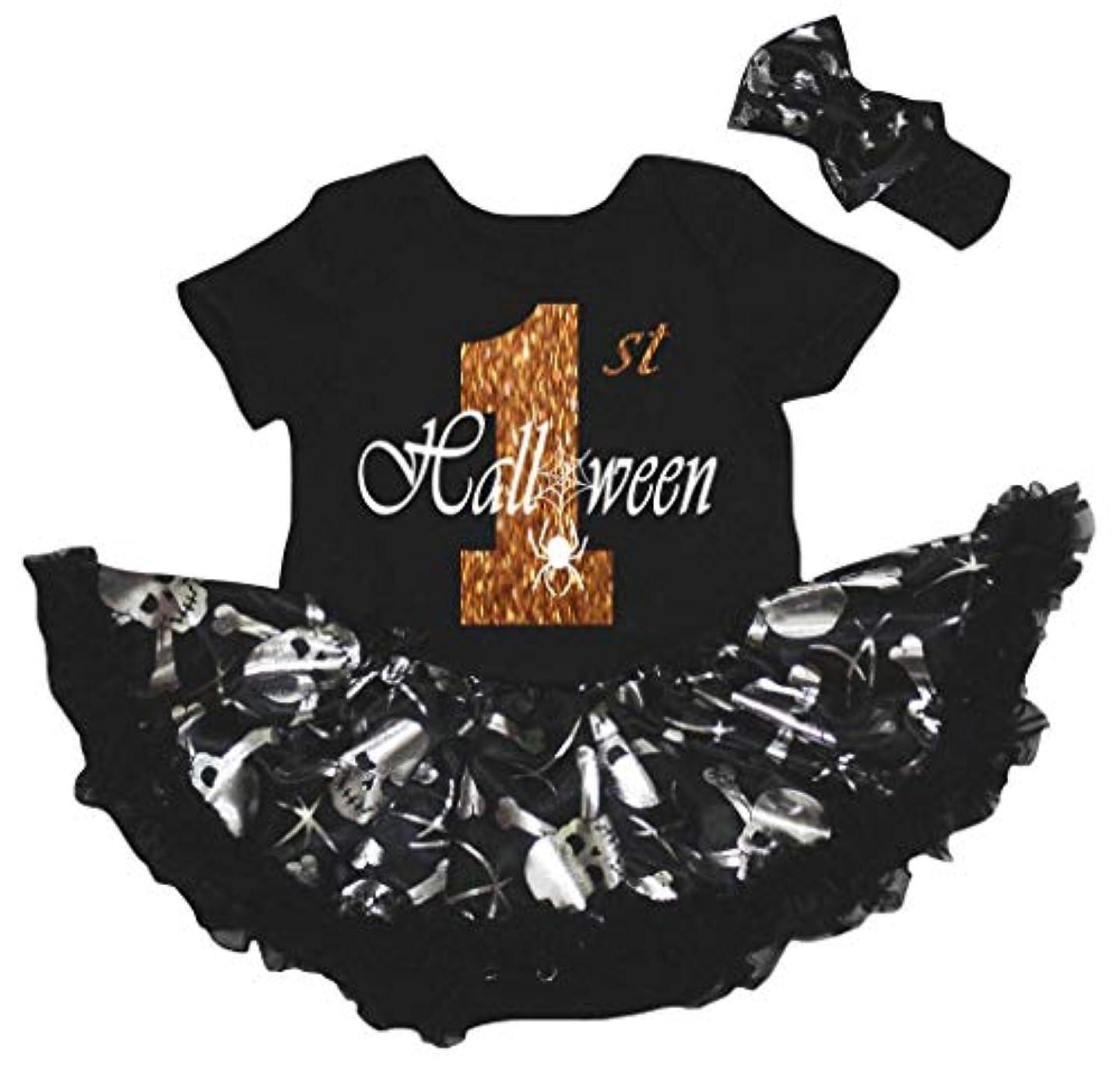 男らしいチャールズキージングスローガン[キッズコーナー] ハロウィン 1st Halloween シルバースカル 子供ボディスーツ、子供のチュチュ、ベビー服、女の子のワンピースドレス Nb-18m (ブラック, Large) [並行輸入品]