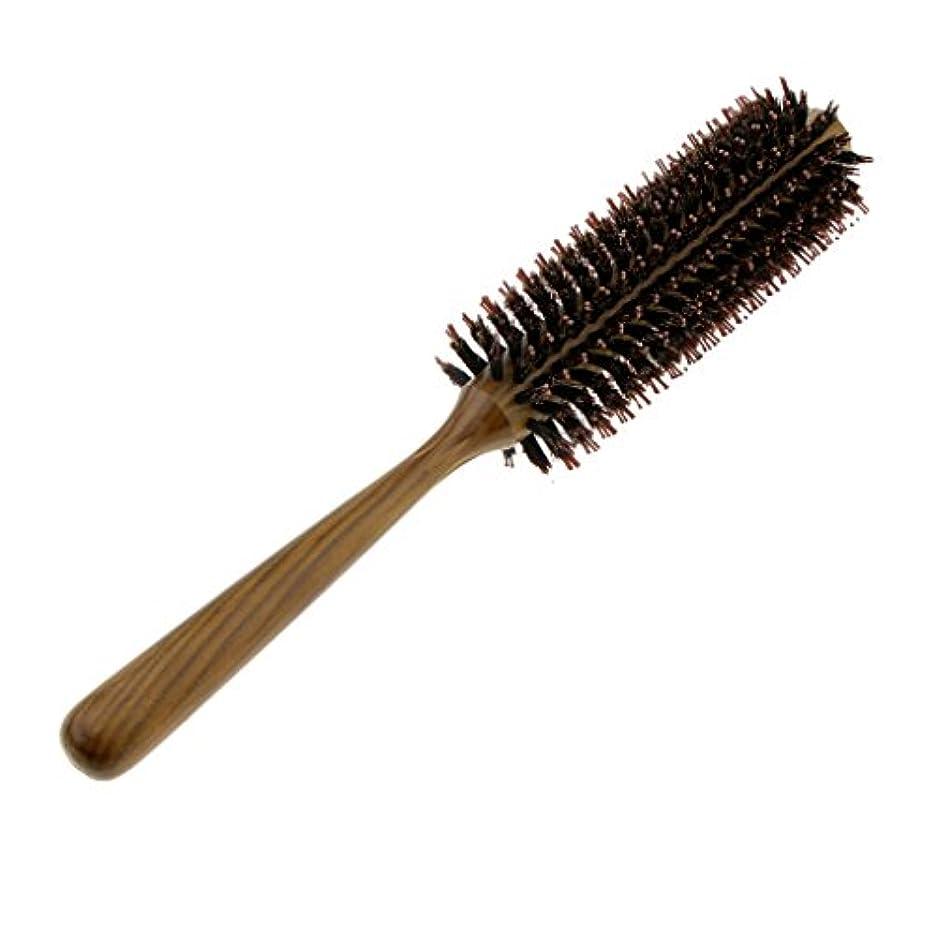 広まった重さロータリーブラシラウンドヘア櫛波状カーリースタイリングカーリング美容髪ブラシ - M