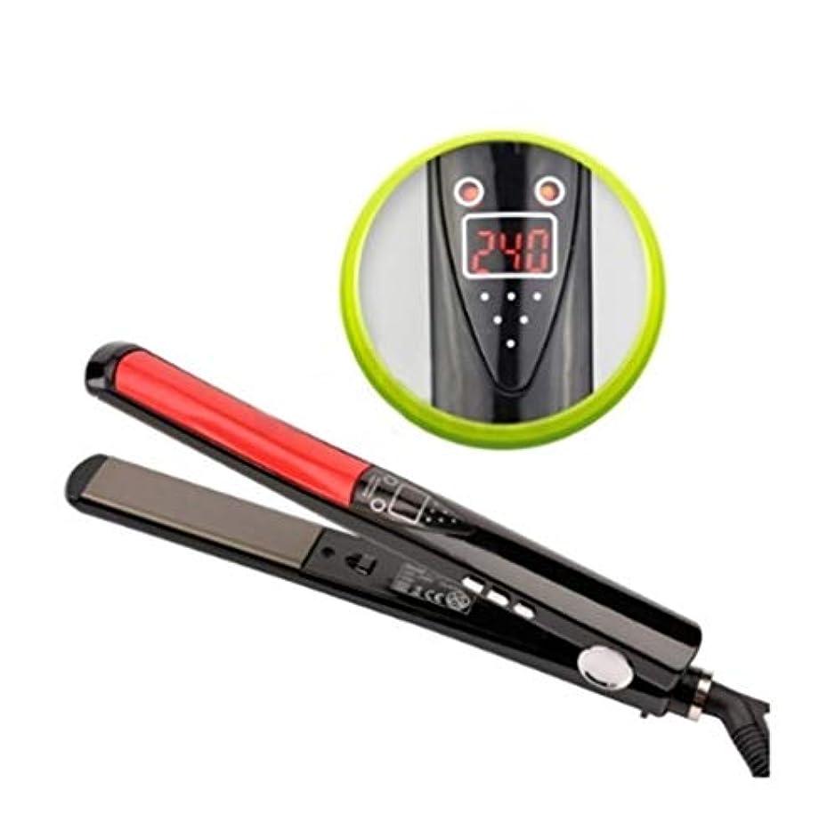 置くためにパック降下矛盾CQQ LCDディスプレイチタンプレートフラットアイアンストレートアイロンスタイリングツールプロフェッショナルヘアストレイテナー
