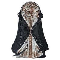 gawaga 女性フード付き暖かい冬のフェイクファーラインアウトウェアジャケット Black S