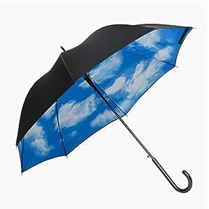傘と日傘専門店リーベン 長傘 外側ブラック、内側ブルー 60cm×8本骨 ジャンプ傘 青空 LIEBEN-0480
