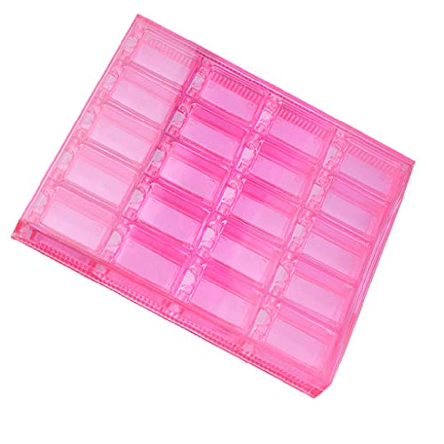 自分を引き上げるボタン災害空のプラスチックボックス収納ケースネイルアート製品イヤリングジュエリー20セル - ピンク