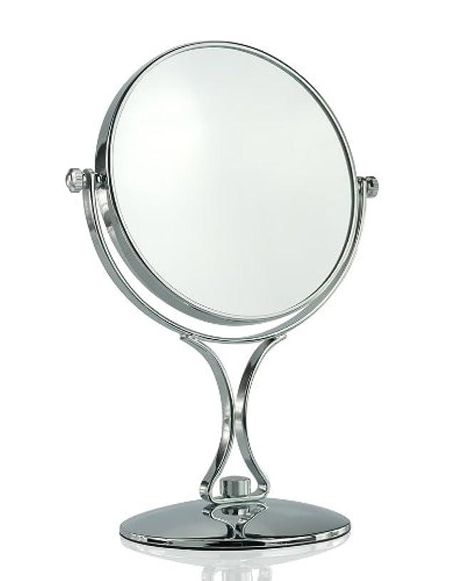 広々としたスローワット【ノーブランド品】拡大鏡5倍と等倍の両面化粧鏡 スタンドミラー