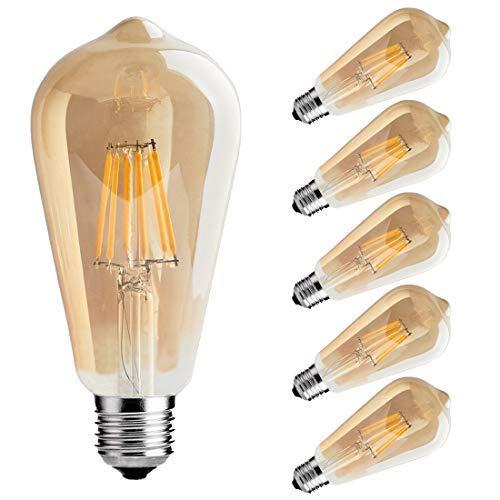 RoomClip商品情報 - フィラメント LED電球 エジソンランプ E26口金 (6W) 50W形相当 電球色相当2700K 広配光タイプ 360度発光 LED電球 茶色 クラシック レトロ電球 シャンデリア用LED電球 調光器対応 (6個入)