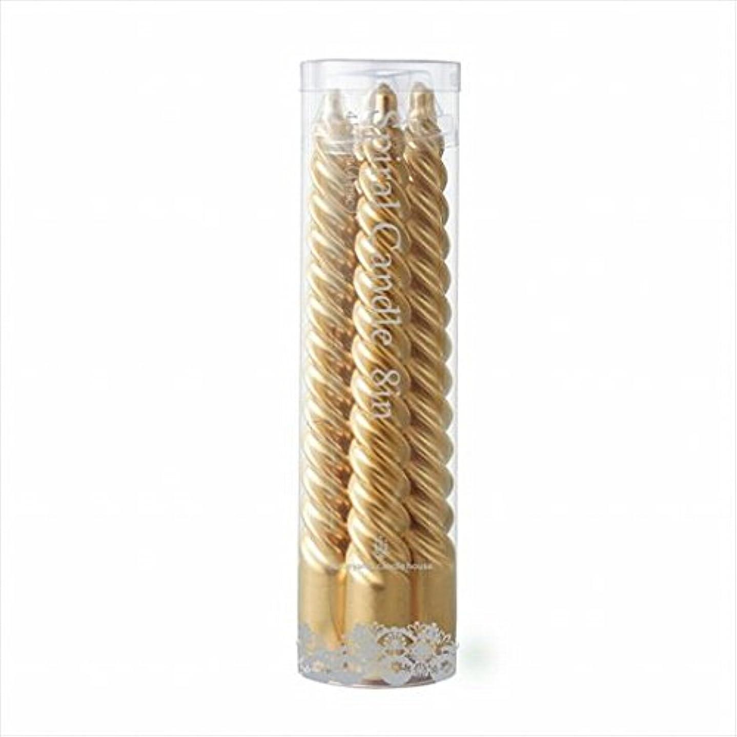 郊外無視できる用心するカメヤマキャンドル(kameyama candle) 8インチスパイラル4本入り 「 ゴールド 」6箱セット