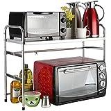 キッチン収納ラック - テレスコピックキッチンラック電子レンジ棚2層の床多機能炊飯器オーブン収納用品収納 WJuian