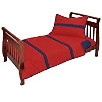 Baby Doll Solid Stripe 4 Piece Toddler Bedding Set Red/Navy [並行輸入品]